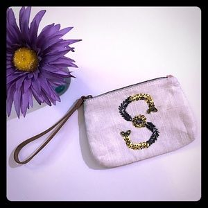 """Bejeweled """"S"""" Monogram Pouch"""